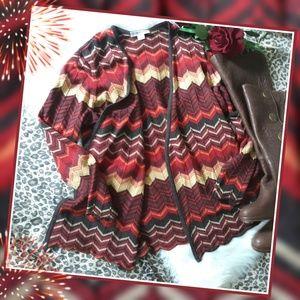 PENDLETON Red Rust Chevron Wool Knit Cardigan